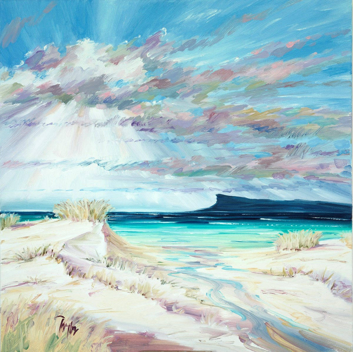 Summer Light Over Eigg I by tom barron -  sized 24x24 inches. Available from Whitewall Galleries